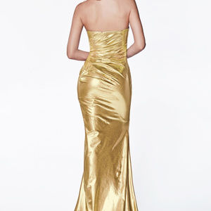 Gold Leg Sli Prom Trumpet Long Dress